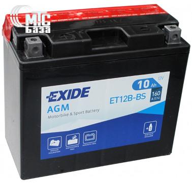 Аккумуляторы Аккумулятор на мотоцикл Exide AGM [ET12B-BS] EN160 А 150x70x130мм