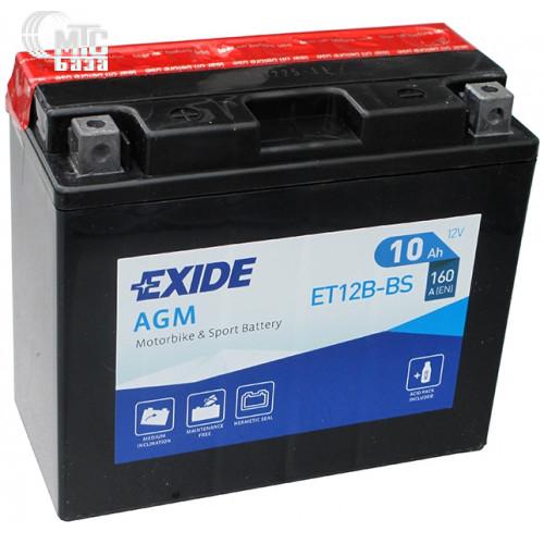 Аккумулятор на мотоцикл Exide AGM [ET12B-BS] EN160 А 150x70x130мм