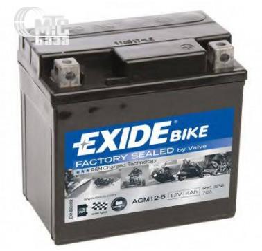 Аккумуляторы Аккумулятор на мотоцикл Exide AGM 4Ah  [AGM12-5] EN70 А 113x70x105мм