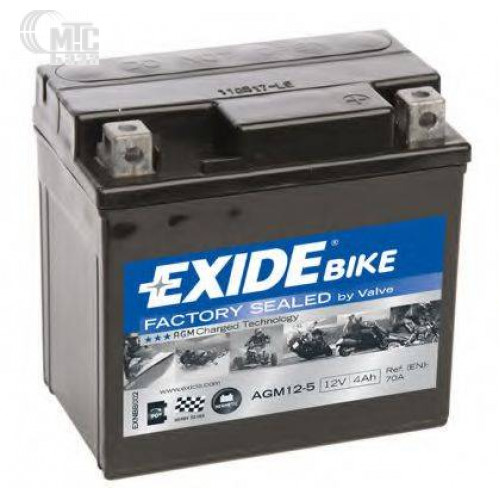 Аккумулятор на мотоцикл Exide AGM 4Ah  [AGM12-5] EN70 А 113x70x105мм