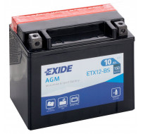 Аккумуляторы Аккумулятор на мотоцикл Exide AGM [ETX12-BS] 6CT-10 АЧ , пуск ток EN150 А 150x90x130мм