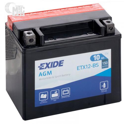Аккумулятор на мотоцикл Exide AGM [ETX12-BS] 6CT-10 АЧ , пуск ток EN150 А 150x90x130мм