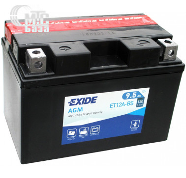Аккумуляторы Аккумулятор на мотоцикл Exide AGM [ET12A-BS] EN130 А 150x90x105мм