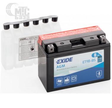 Аккумуляторы Аккумулятор на мотоцикл Exide AGM [ET9B-BS] EN110 А 150x70x105мм