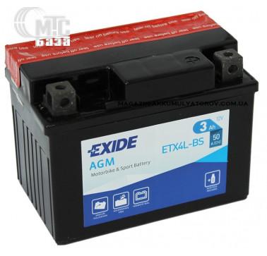 Аккумуляторы Аккумулятор на мотоцикл Exide AGM [ETX4L-BS]  R EN50 А 113x70x85мм